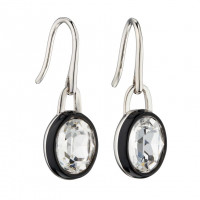 Fiorelli Silver Clear Crystal Earrings With Black Enamel Border (E5879C)
