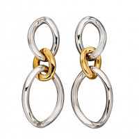 Fiorelli Silver  Large Curb Link Drop Earrings With Yellow Gold (E5893)