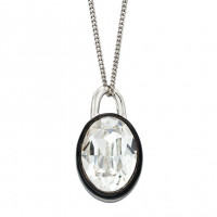 Fiorelli Silver Clear Crystal Pendant With Black Enamel Border (P4892C)