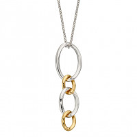 Fiorelli Silver Curb Link Drop Pendant With Gold Plating (P4907)