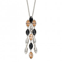 Fiorelli Silver Cascade Pendant With Montana And Peach Crystals (P4910)