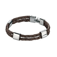Fred Bennett S/Steel And Brown Leather Bracelet B3671