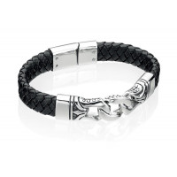Fred Bennett S/Steel And Black Leather Bracelet B3897