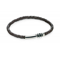 Fred Bennet Silver And Brown Leather Bracelet B4217