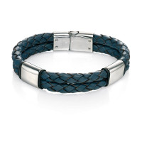 Fred Bennett S/Steel Blue Leather Bracelet B4374