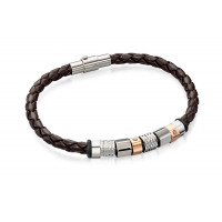 Fred Bennett S/S And Rose Gold Plated Leather Bracelet B4544