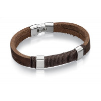 Fred Bennett S/Steel And Brown Leather Cord Bracelet B4558
