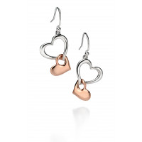 Fiorelli Silver Two Tone Double Heart Drop Earrings E4861