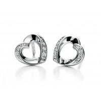 Fiorelli Silver Open Heart Ribbon Stud Earrings E5085C