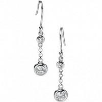 Fiorelli Silver Double Bubble CZ Drop Earrings E4548C