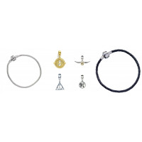 Harry Potter Bracelet & 4 Silver Plated Charms - Time Turner, Snitch, Deathly Hallows & 9 3/4