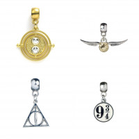 Harry Potter Silver Plated Charm Set - 9 3/4, Deathly Hallows, Golden Snitch, Time Turner