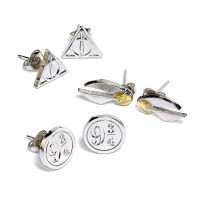 Harry Potter Silver Plated Stud Earring Set Snitch/ Deathly Hallows/ Platform 9 3/4- WE0104