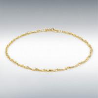 "9CT YELLOW GOLD DIAMOND CUT TWIST CURB BRACELET 18CM/7"" 1.23.0471"