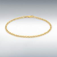 "9CT YELLOW GOLD 40 DIAMOND CUT PRINCE OF WALES BRACELET 18CM/7"" 1294301"