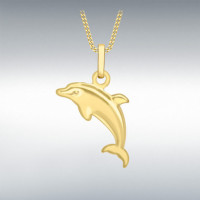 9CT YELLOW GOLD 16MM X 19MM DOLPHIN PENDANT (No Chain) 1.61.4173