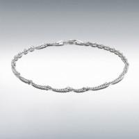 "Silver Twist Curb Bracelet 7"" IB-8230651"