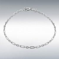"""Silver Diamond Cut Figaro Belcher Bracelet 7.5"""" IB-8250062"""
