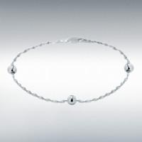 "Silver Twist & Beads Bracelet 7.5"" IB-8281432"