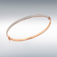 STERLING SILVER ROSE GOLD PLATED 3.5MM STARDUST OVAL BANGLE 8.37.2231