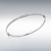 STERLING SILVER 3.5MM STARDUST OVAL BANGLE 8.37.2241