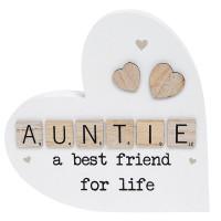 Scrabble Sentiment Standing Wooden Heart Auntie 200863