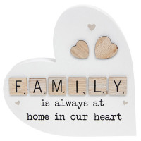Scrabble Sentiment Standing Wooden Heart Family 200864