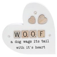 Scrabble Sentiment Standing Wooden Heart Woof 200866