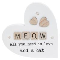 Scrabble Sentiment Standing Wooden Heart Meow 200867