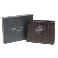 EQ For Men Patterned RFID Leather Wallet Brown 209916