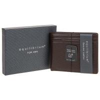 EQ For Men Debossed Leather RFID Wallet Brown 299881
