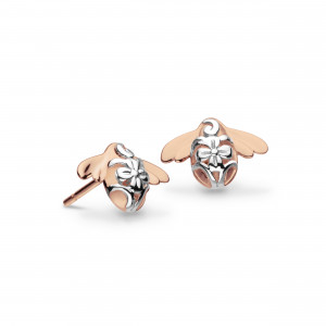 Silver Blossom Bumblebee Rose Gold Plated Stud Earrings 40339RG
