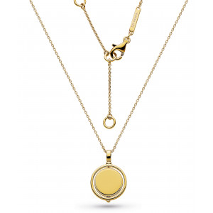 Silver & Gold Plated Empire Revival Round Spinner Gold Necklace 90385GD