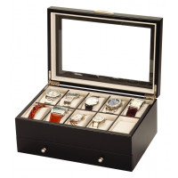 Mele & Co Black Wood lockable Draw Watch Box