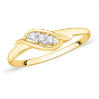 9ct Gold Claw Set 3 Stone, (0.8pts) Twist Diamond Ring GL4936