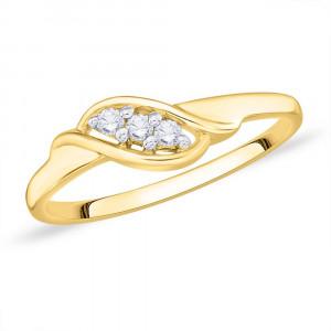 9ct Gold Claw Set 3 Stone, (0.8pts) Twist Diamond Ring GL4936