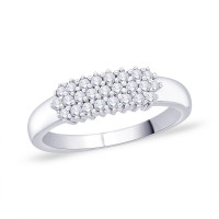 9ct White Gold (0.25pts) Cluster Diamond Ring GL5115