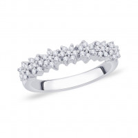 9ct White Gold Pave Set Cluster Diamond Ring GL5196