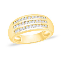 18ct Gold (0.50pts) 33 Stone Triple Row, Channel Set Diamond Ring NS21173
