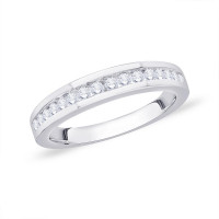9ct White Gold (0.33ct) Channel Set 16 Stone Half Eternity Diamond Ring  NW1633