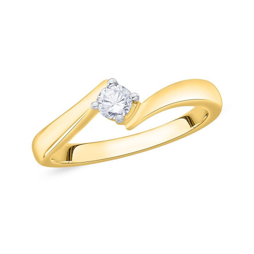 13d465e35 9ct Gold 4 Claw Single Stone, Twist (0.20pts) Diamond Engagement ...