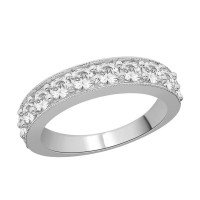 9ct White Gold Diamond (1.50ct) Grain Set, Half Eternity Ring with Millgrain Edge R9106A