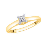 9ct Gold (0.28pts) 4 Claw Single Stone, Princess Cut Diamond Engagement Ring RP7331AY