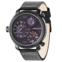 Police Mamba Black Leather Strap Gents Watch 14500XSB/02