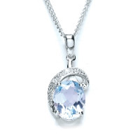Purity 925 Silver Blue Topaz & CZ Pendant & Chain P1068P-1
