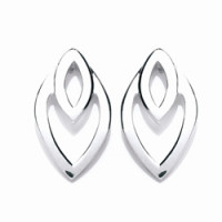 Purity 925 Silver Leaf Pattern Stud Earrings PUR1228ES
