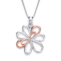 Purity 925 Silver & Rose Gold Detail Flower Pendant & Chain PUR1408P