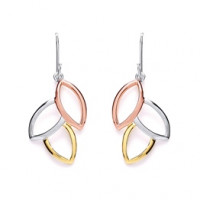 Purity 925 Silver 3 Colour Leaf Drop Earrings PUR1409ED