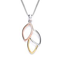 Purity 925 Silver 3 Colour Leaf Pendant & Chain PUR1409P