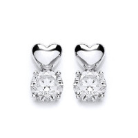 Purity 925 Silver & CZ Heart Stud Earrings PUR1694ES